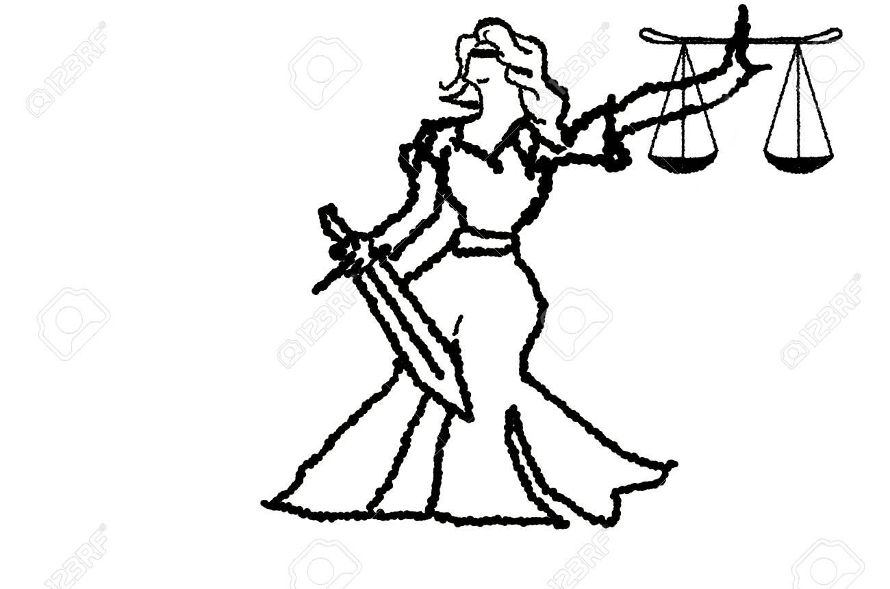 Dama De La Justicia Aislado En La Ilustracion Del Fuego Vector