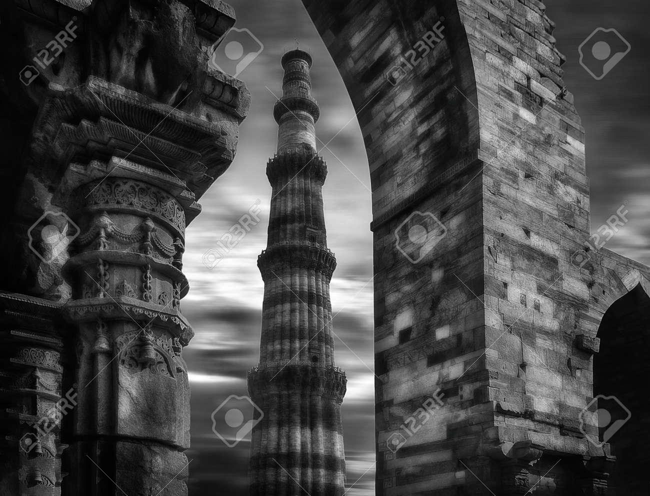 Banque dimages qutub minar à new delhi en inde avec différents new delhi inde asie