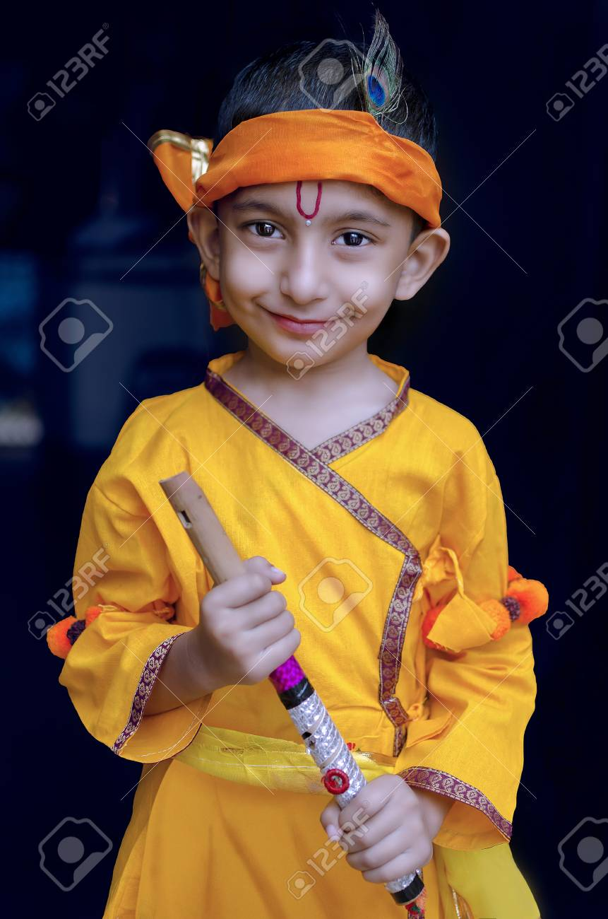 portrait of little lord krishna kanhaiya indian asian cute child