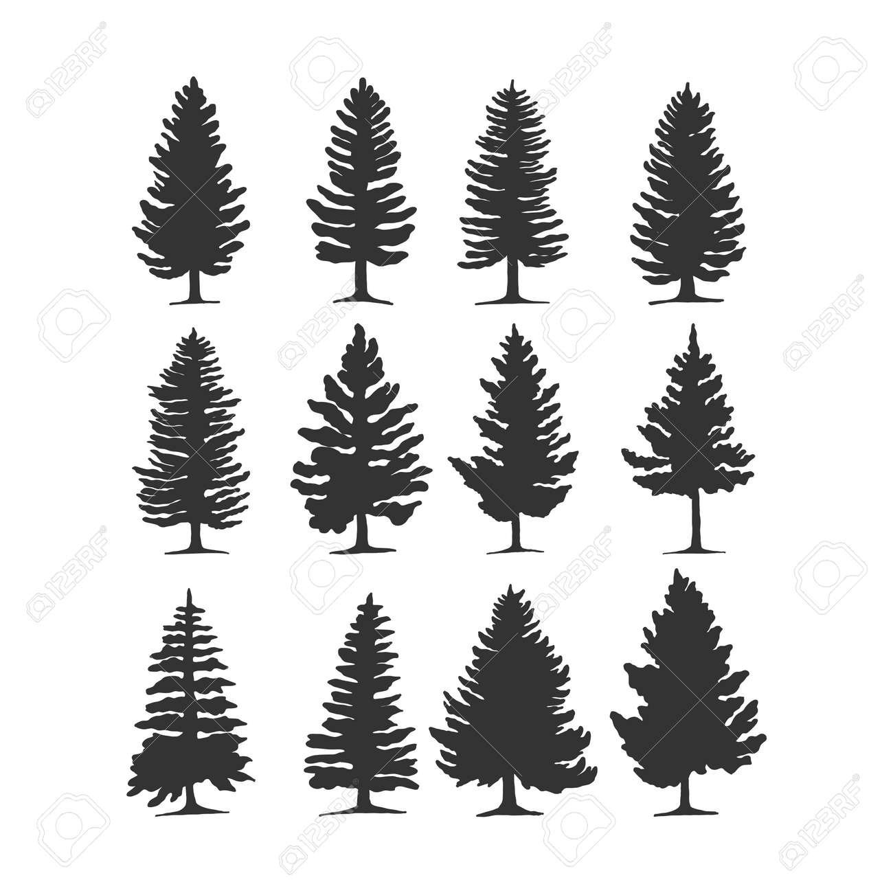 pine tree vector silhouette illustration. good for nature design or decoration template. simple grey color - 169471224