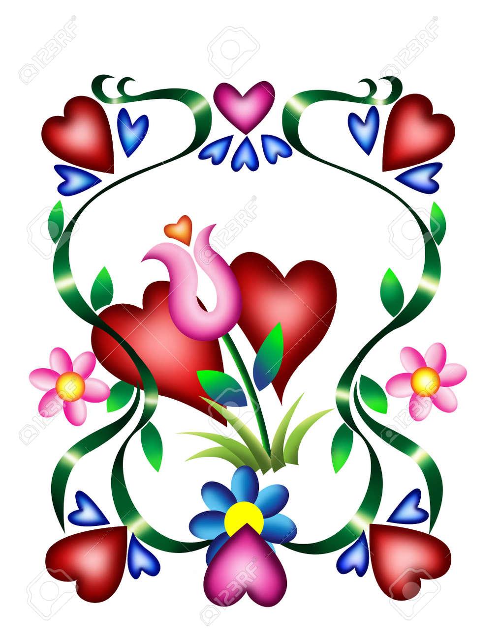 Corazones De San Valentin De Tarjeta De Amor Con Formas De Corazon