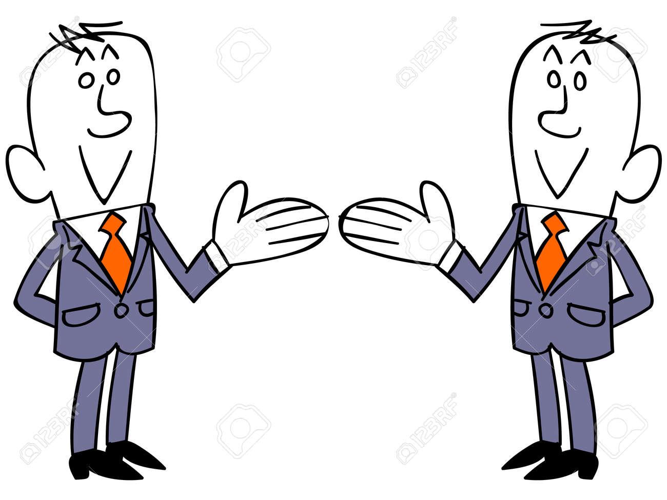 右と左を導入するビジネスマンの...