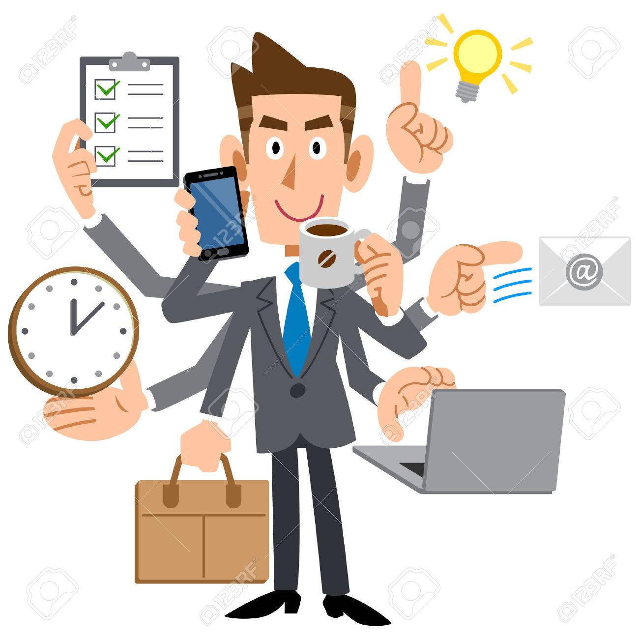 Young businessman do a multi-tasking - 36990294