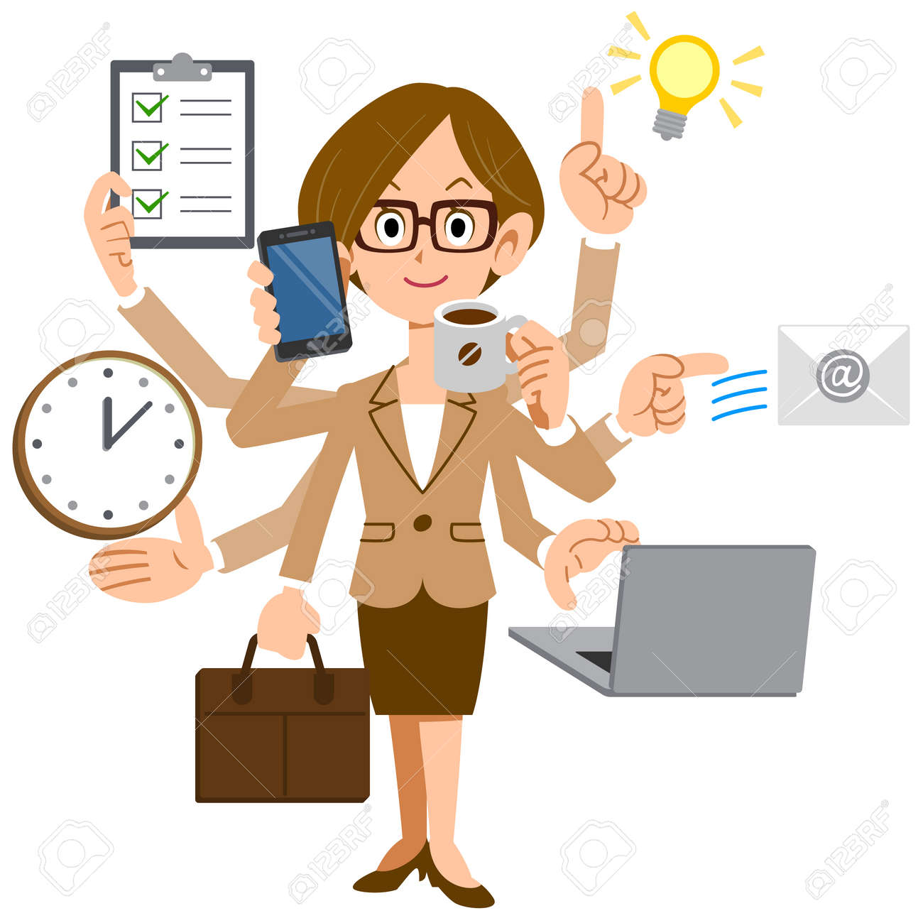 Businesswoman multiplied by the glasses do a multitasking - 40084637