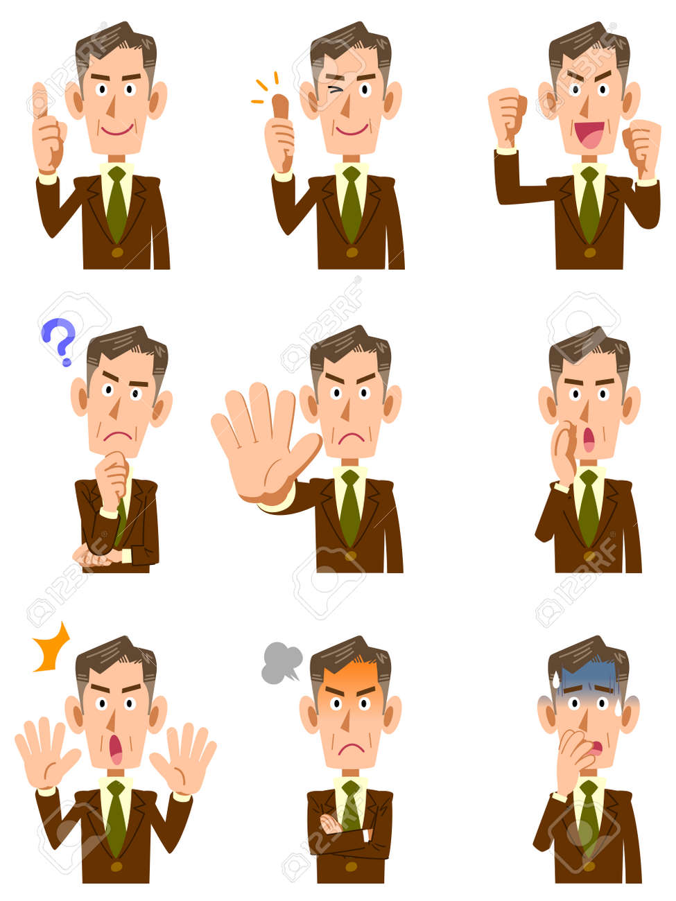 Elderly businessman 9 different gestures and facial expressions - 52506636