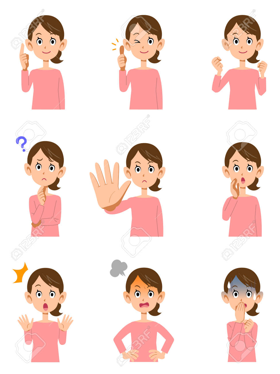 Various expressions of women - 53597578