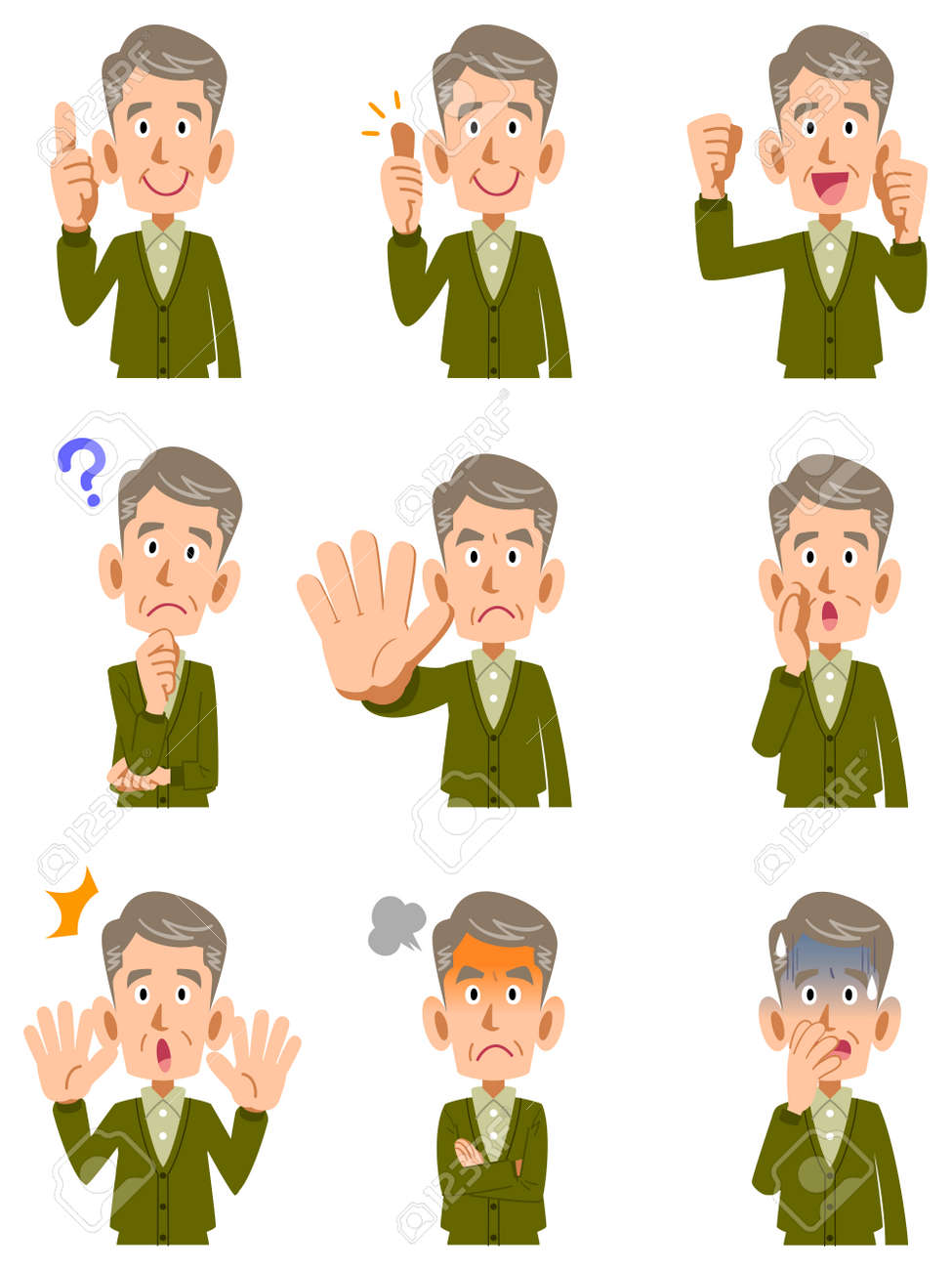 Various expressions of middle-aged men - 53597582