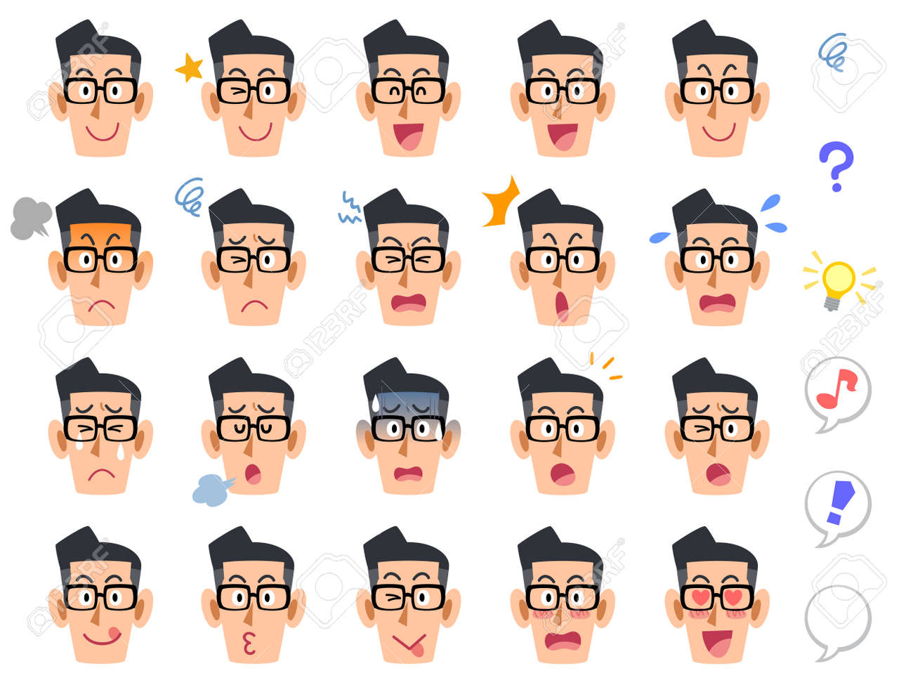 A bespectacled 20 types of facial expressions - 53597619