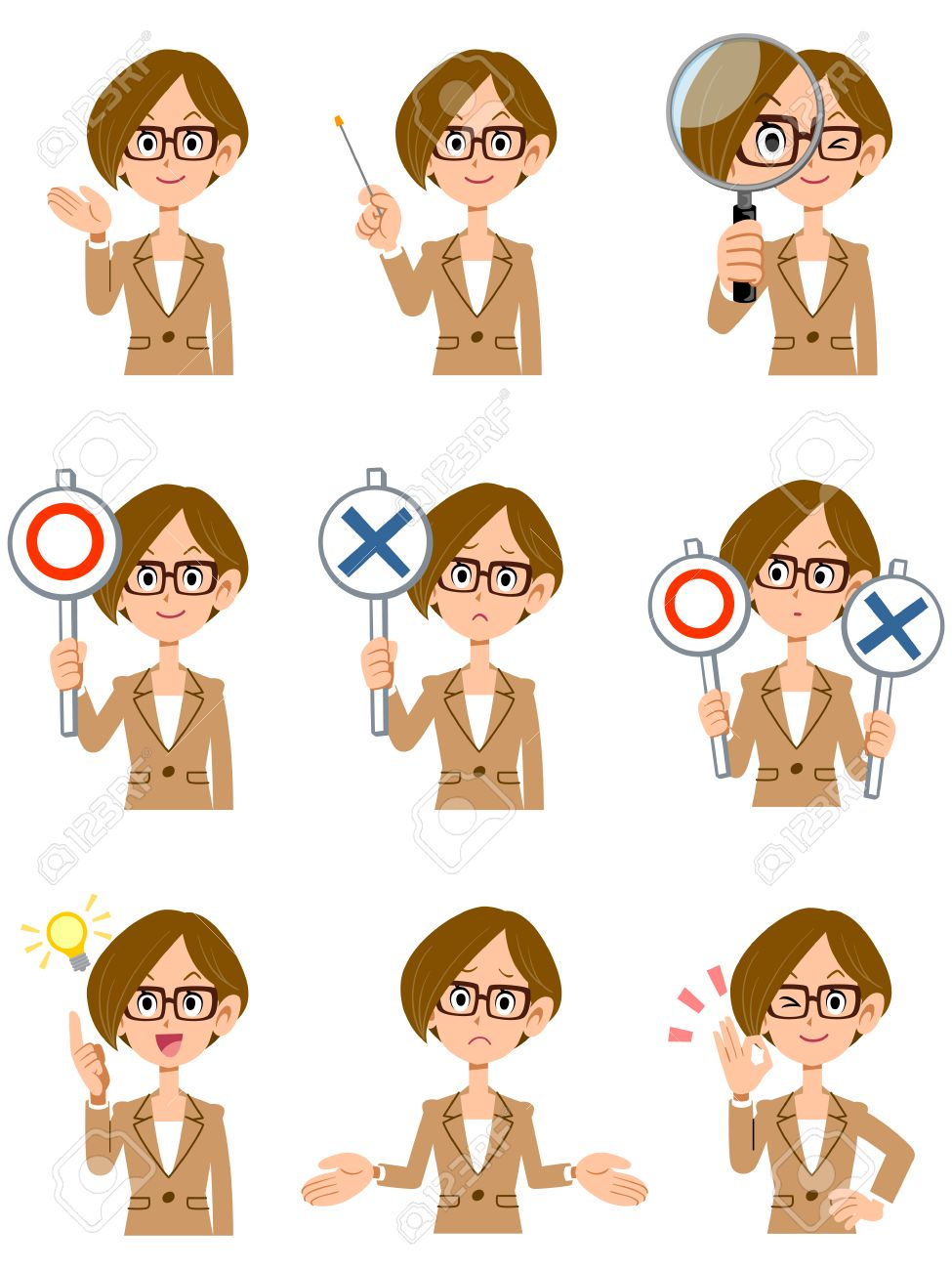Facial expression and gesture that glasses shortcuts working women 9 - 56582161