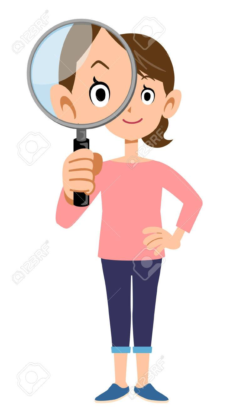 Image result for magnifying lady