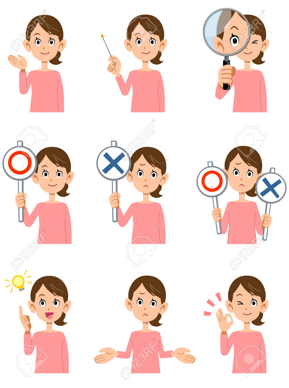 Nine women's gestures and facial expressions - 59952873