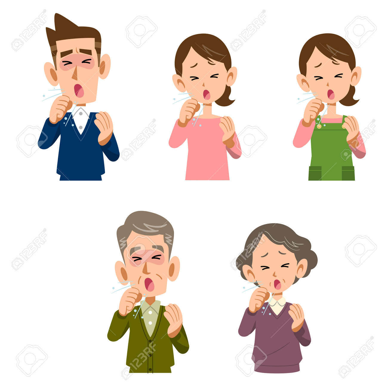 Men and women coughing - 63016614