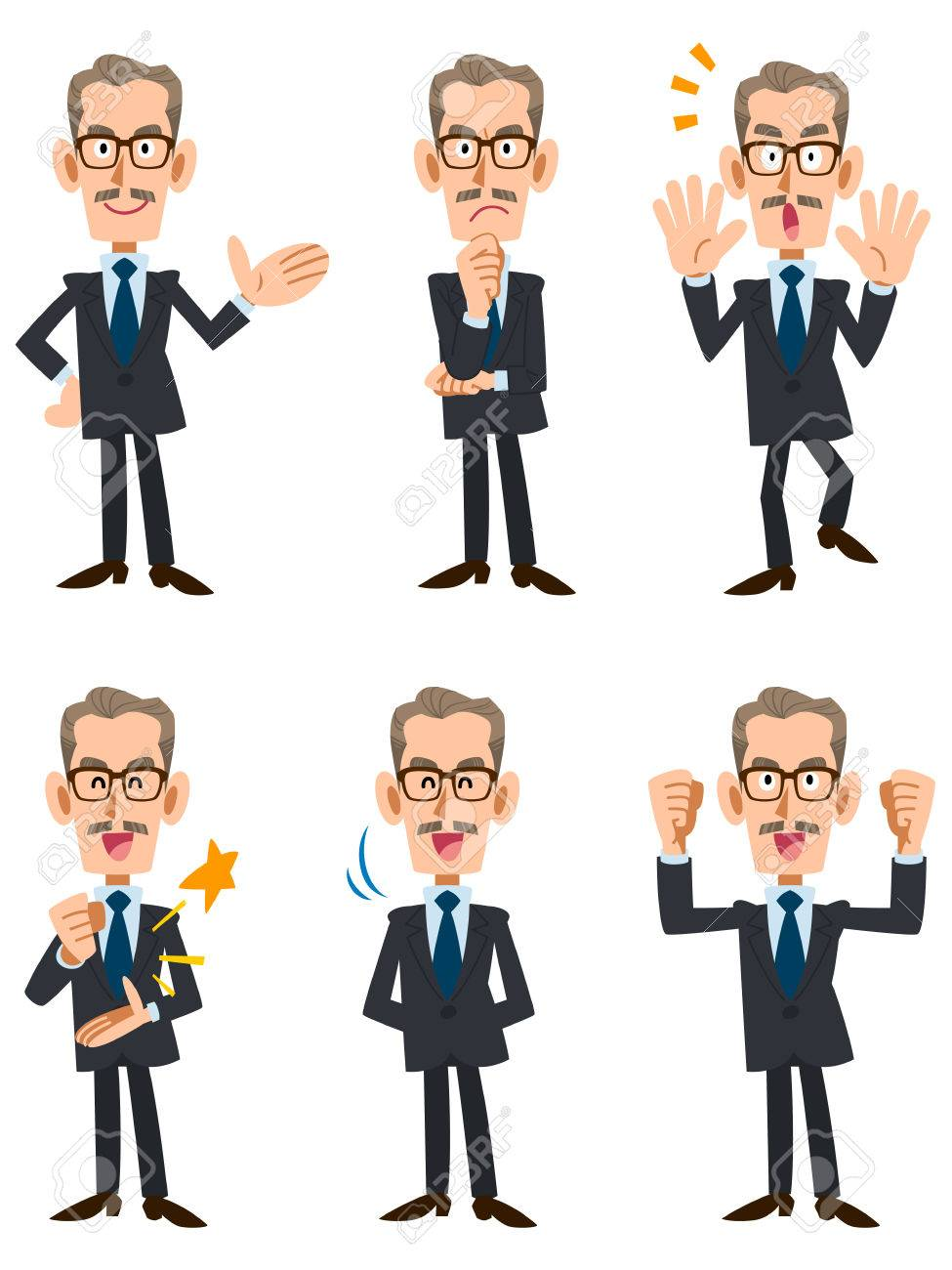 6 types of older men in suits pose and gesture - 66380392