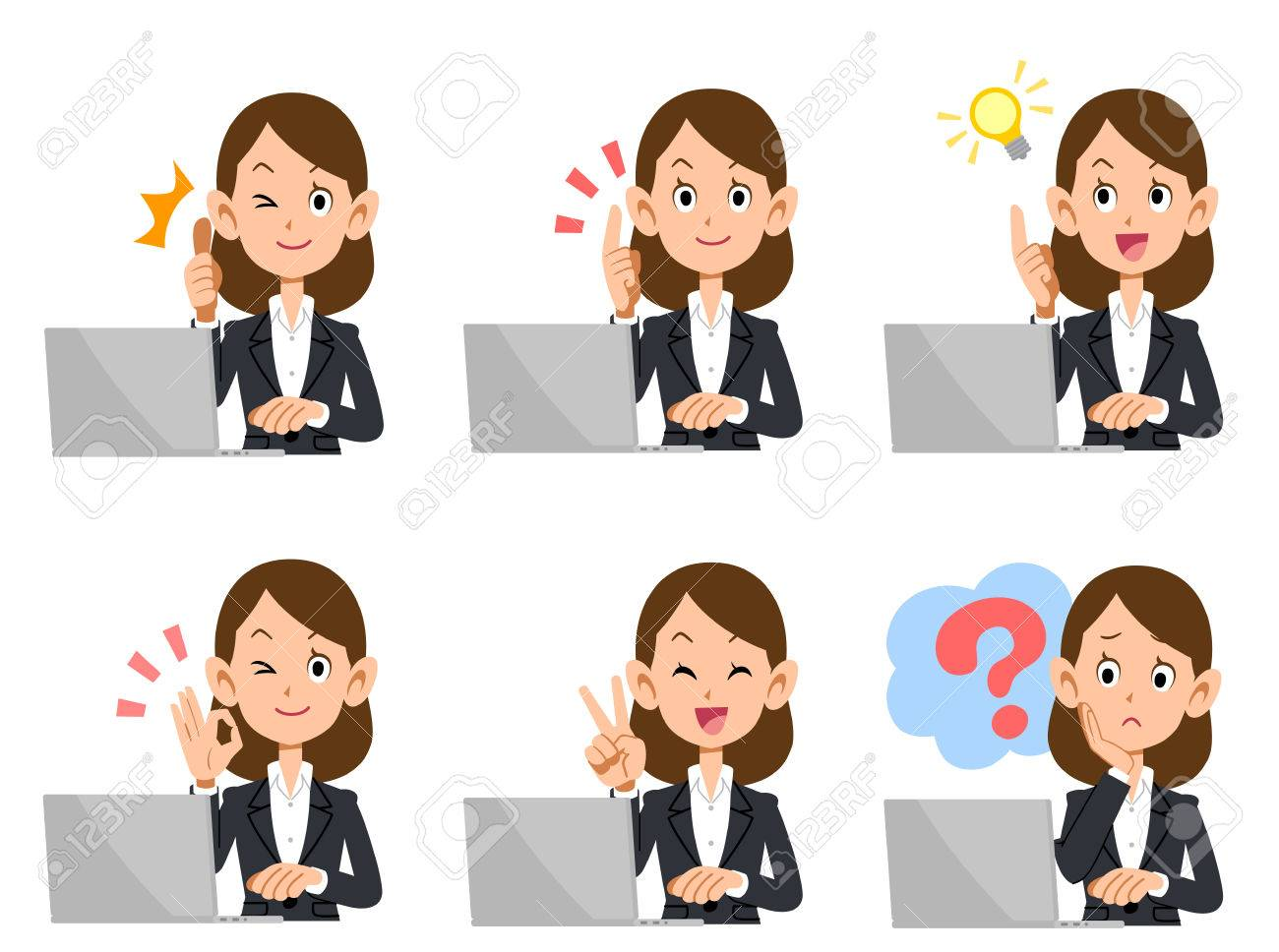 A set of employee Lady laptop look and gesture - 72369709