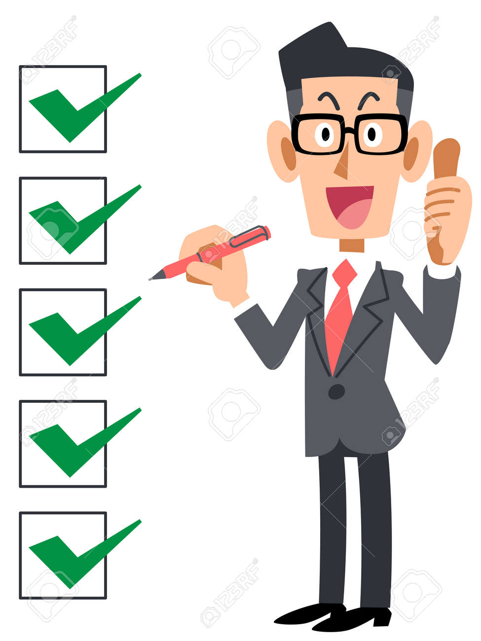 checklist corporate complete eyeglasses royalty free cliparts