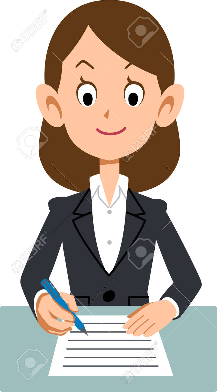 office woman filling out form royalty free cliparts, vectors, and