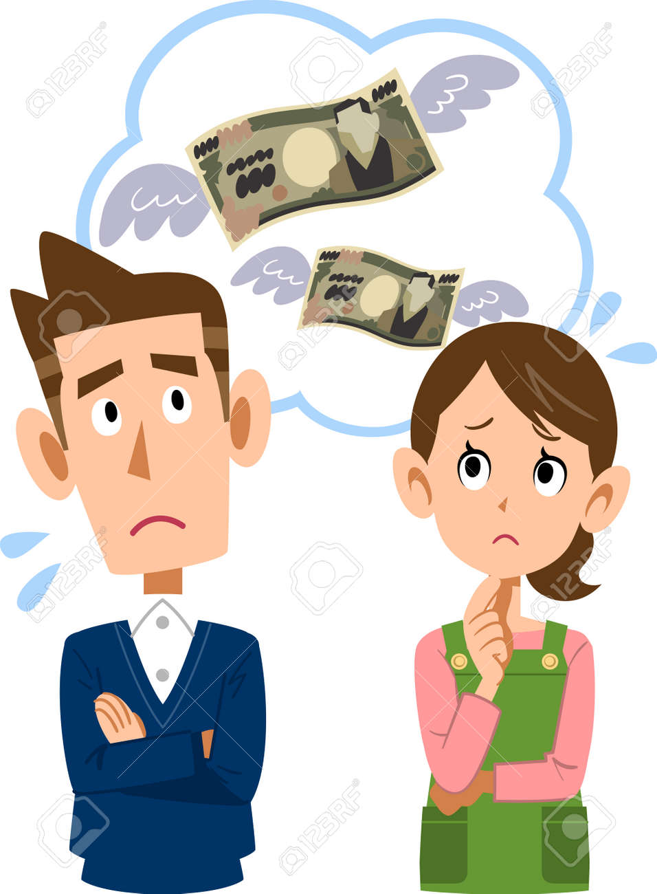 Husband and wife make money wasted spending household. - 85536614