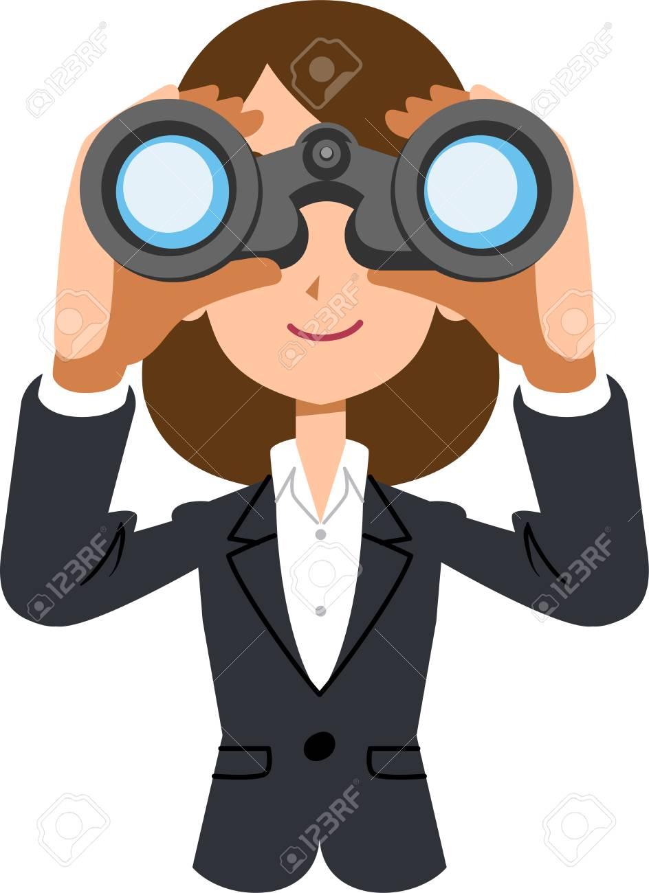 Working female business woman looking into binoculars - 104345935