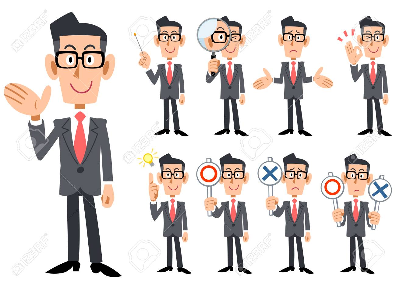 Gestures and expressions of glasses-worn businessmen wearing red tie and gray suit - 104603286