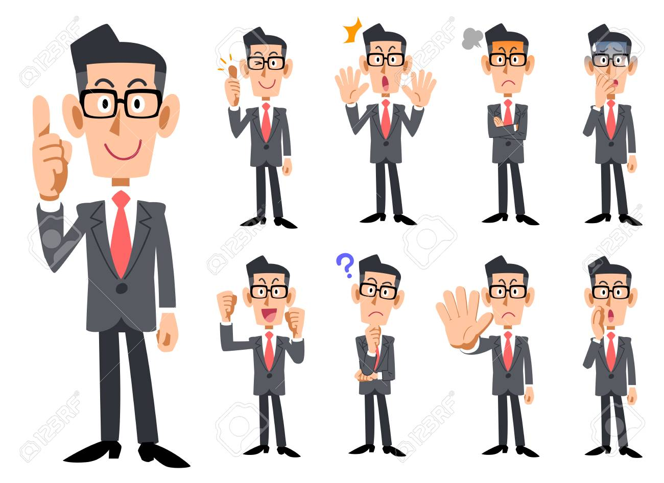 Red Necktie and gray suits wearing eyeglasses businessman's gestures and expression - 104603287