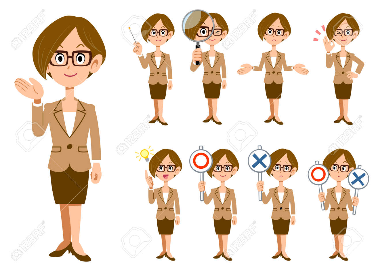 working women with eyeglasses 9 gestures and expressions whole body