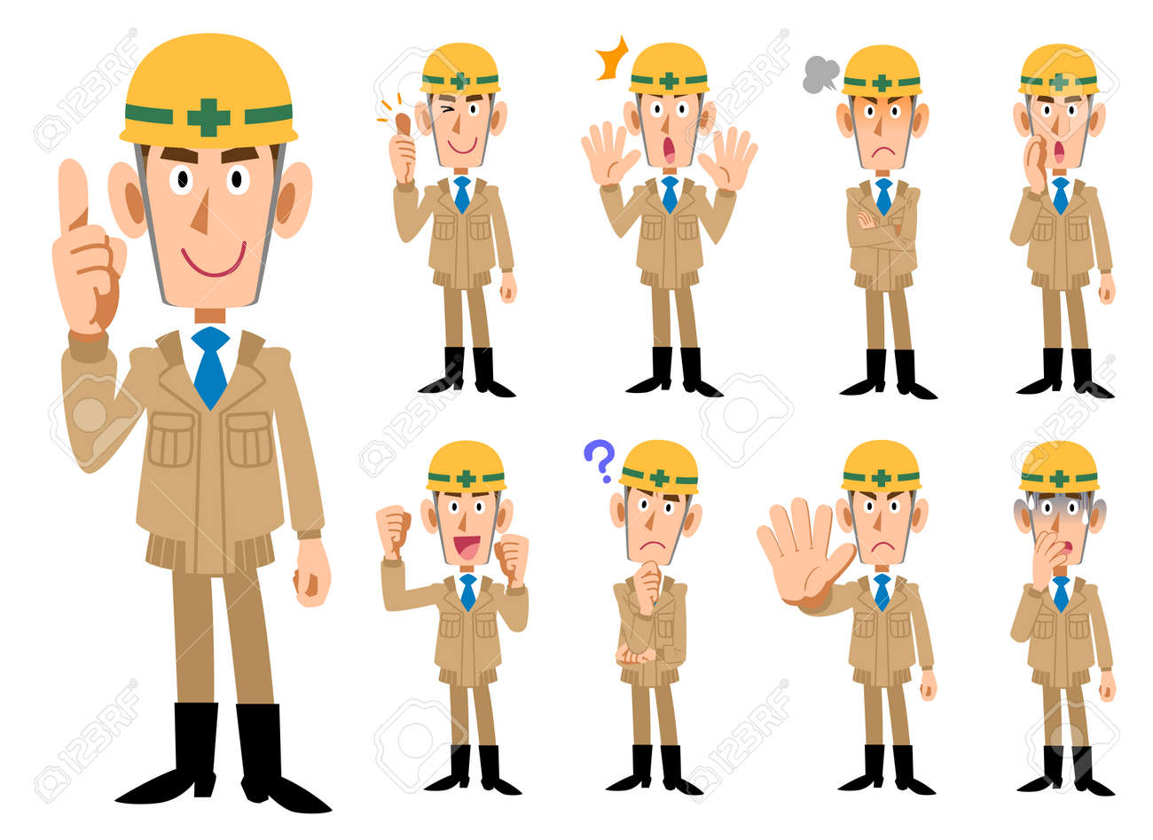 Construction industry _ Men in beige colored work clothes _ 9 types of poses set - 105075146