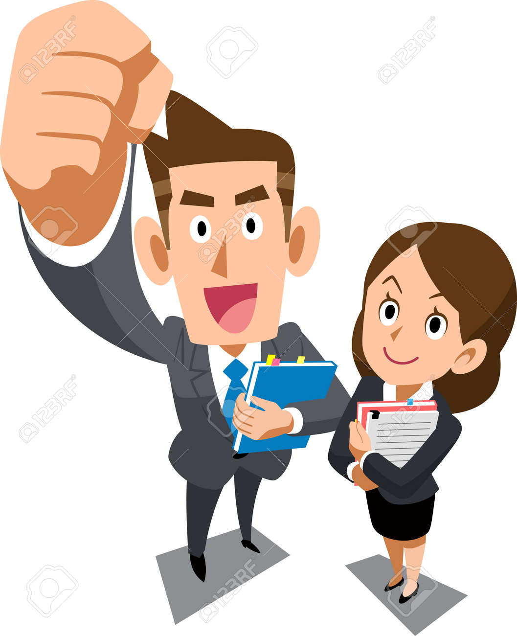 Male and female young businessperson of positive image _ Overhead view - 114736634