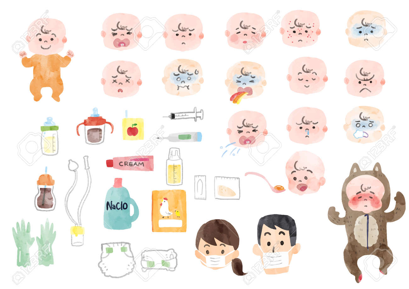 Illustration of a sick baby and baby supplies - 113678330