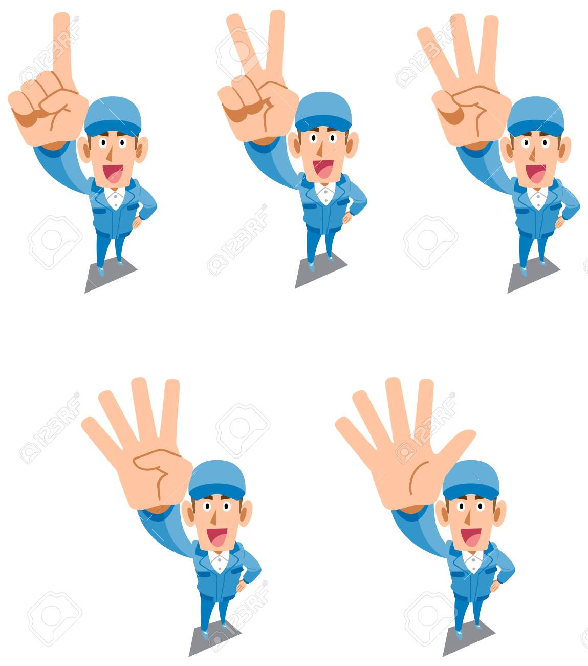 A man in blue work clothes showing numbers and order with fingers - 142045244