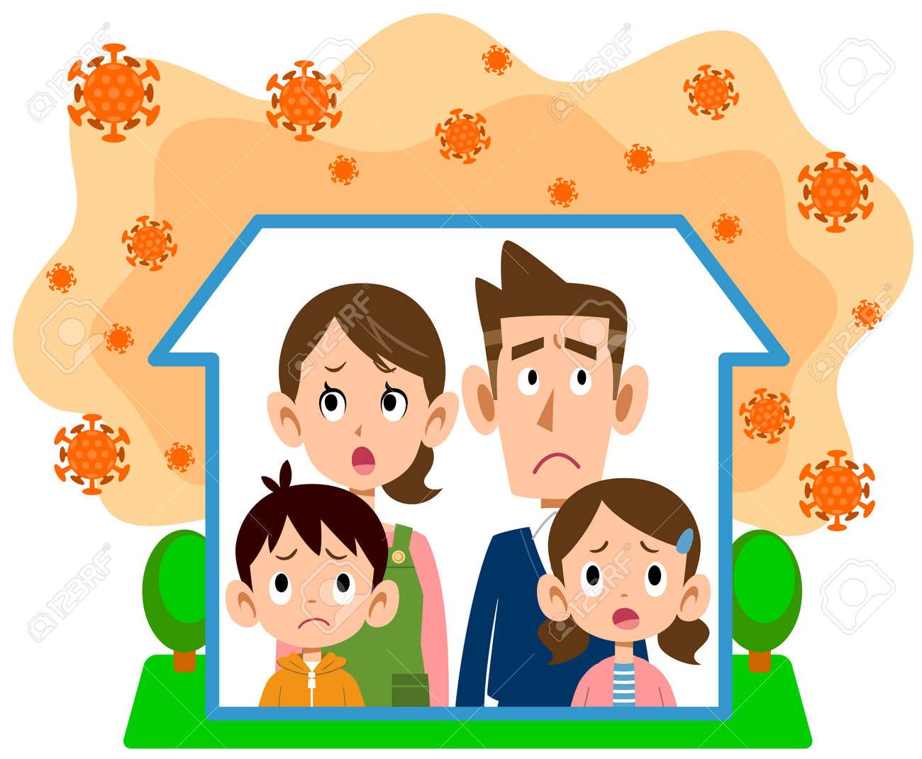 Family waiting at home due to coronavirus - 143386934