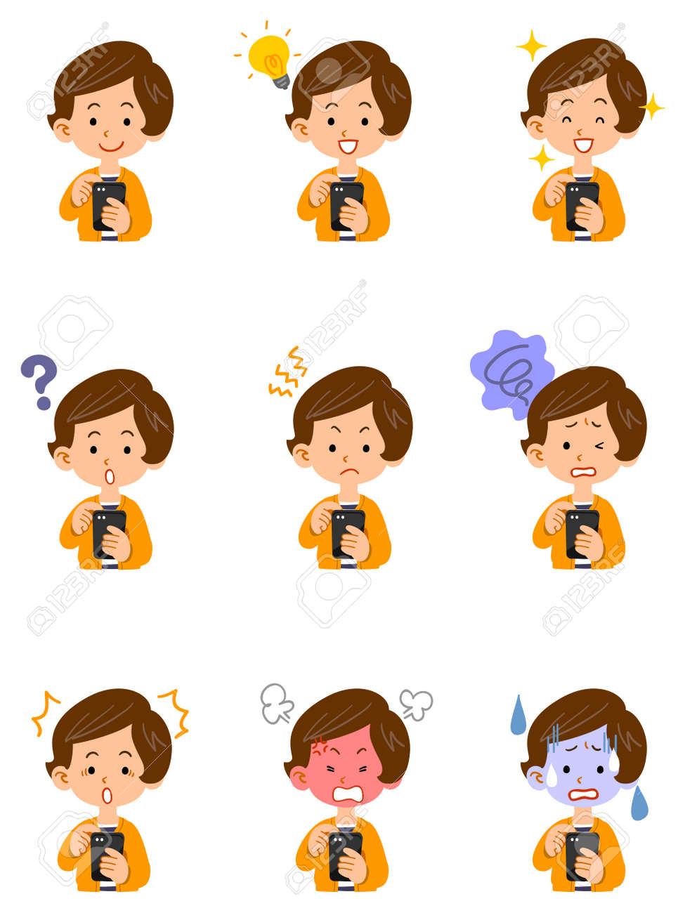 Illustration set of facial expressions of women operating smartphones - 169328238