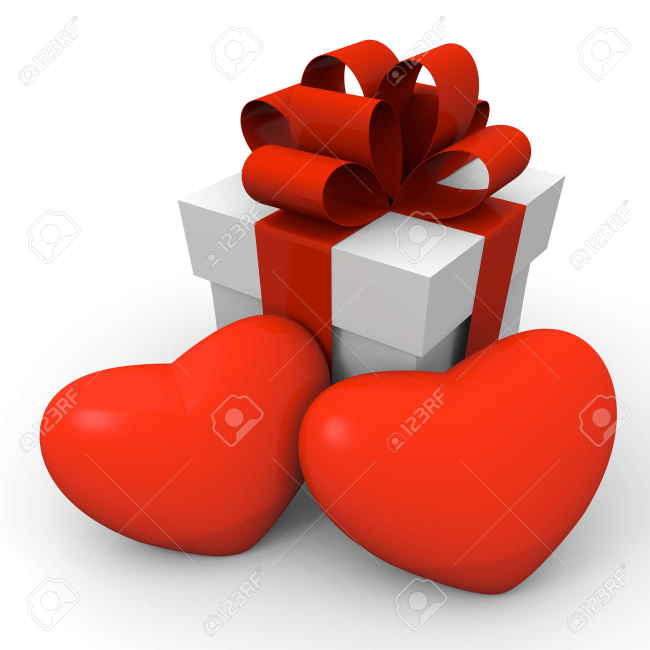 Gift box with two huge hearts Stock Photo - 11789525
