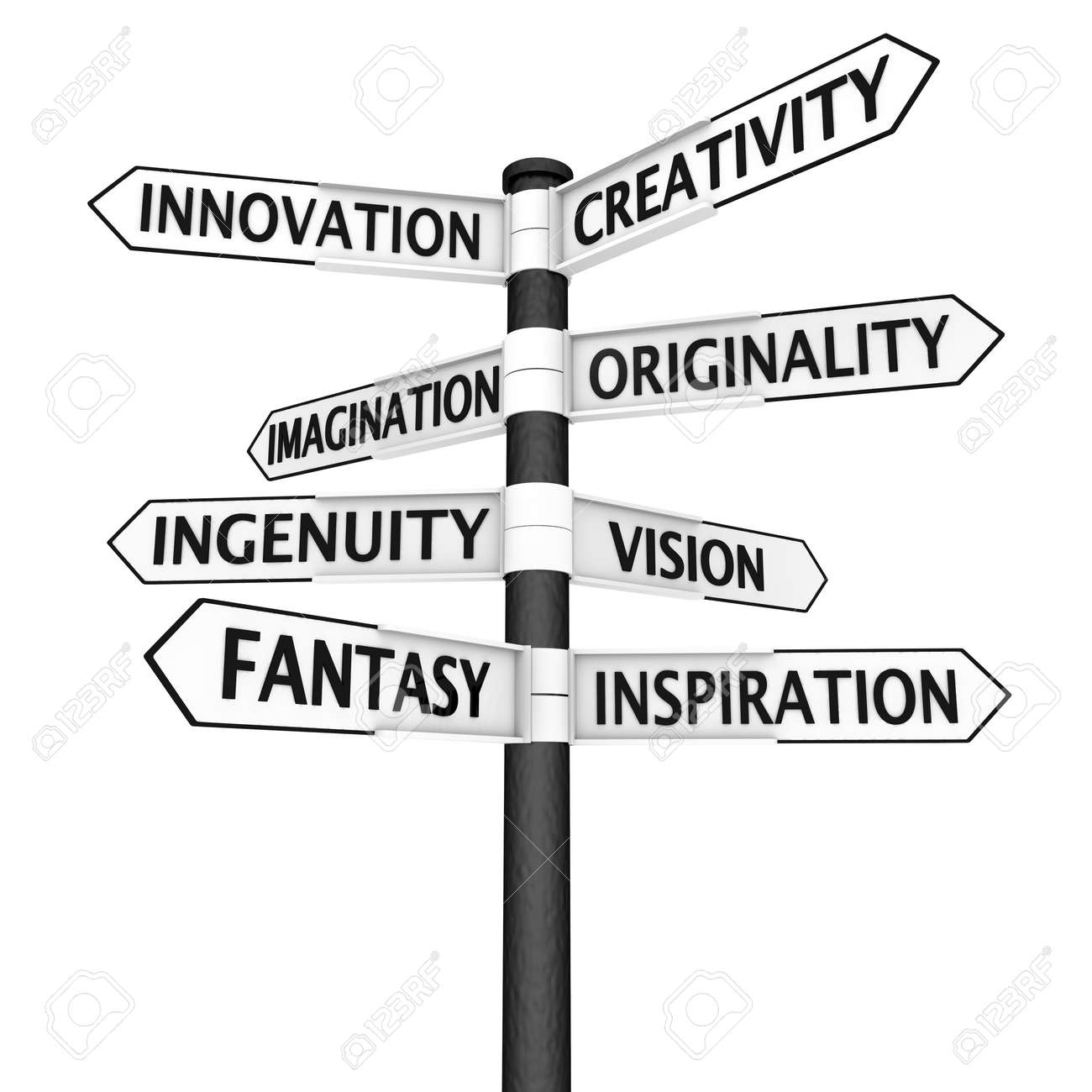 Signpost with creativity - related place names in every direction Stock Photo - 11868664