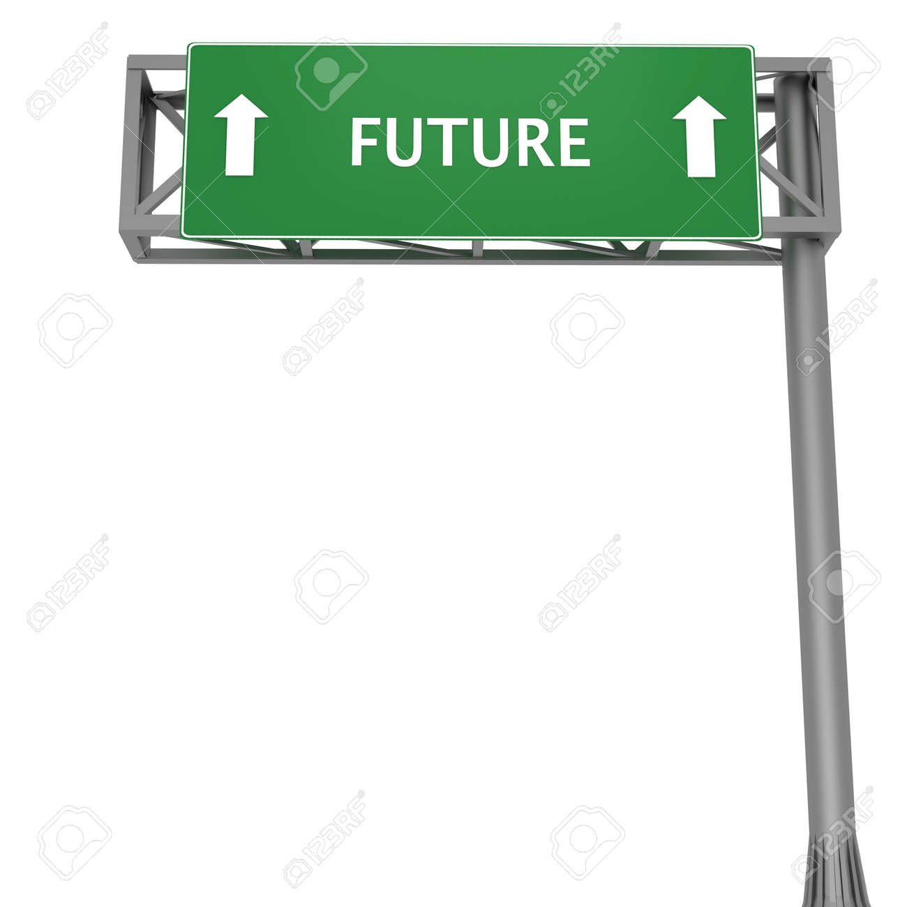 Highway signboard pointing forward displaying FUTURE Stock Photo - 11868659