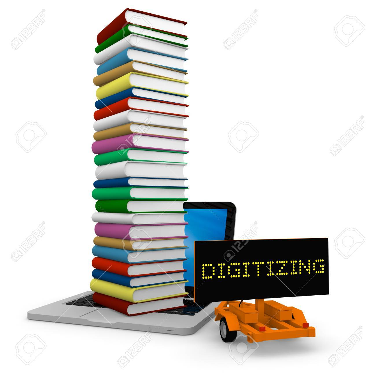 Tall pile of colourful books on the top of a laptop and a cart with sign DIGITIZING Stock Photo - 11941434