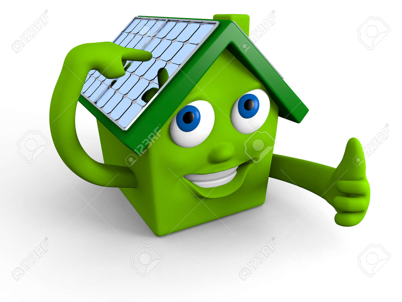 Happy green house showing its solar panels on the roof Stock Photo - 12454842