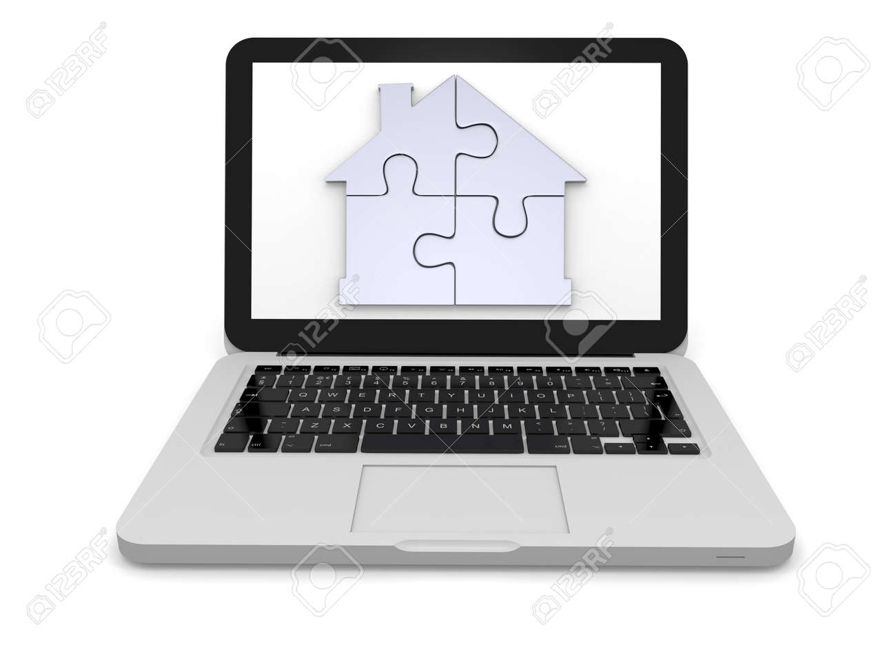 Silver house symbol made of four puzzle pieces on laptop screen silver house symbol made of four puzzle pieces on laptop screen stock photo 12455079 biocorpaavc