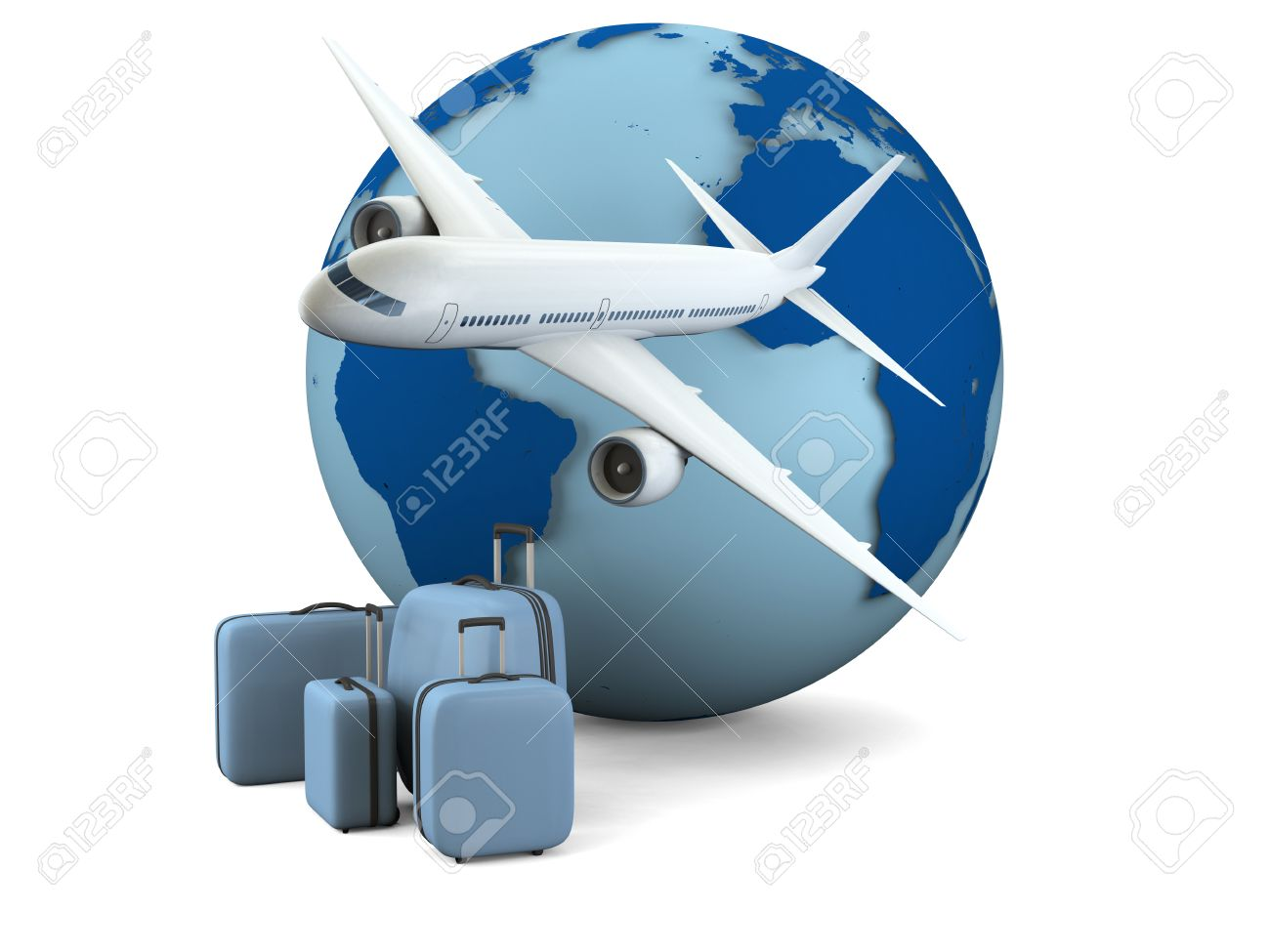 Concept Of Air Travel With Model Of Earth, Airplane And Luggage ...