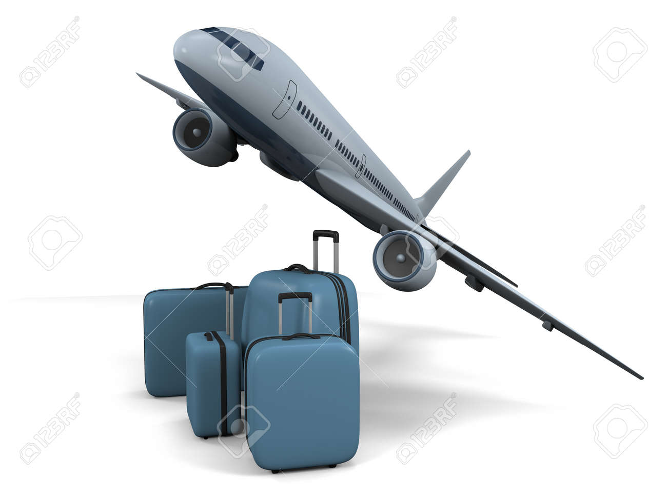 3D model of flying passenger aircraft with luggage isolated on