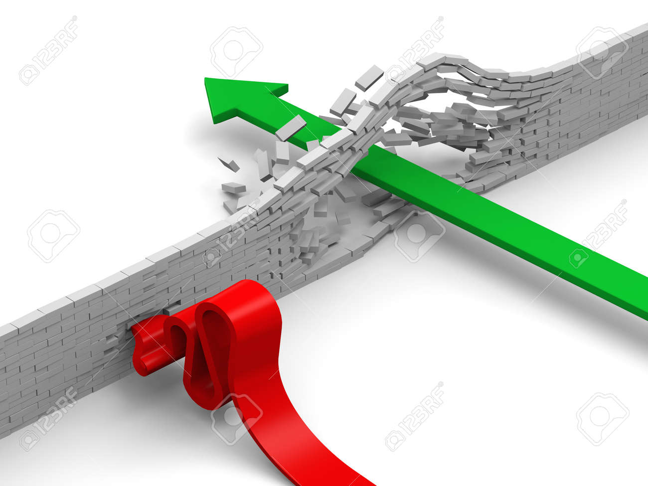 Concept of breaking through obstacles, or failing illustrated by green and red arrows overcoming brick wall Stock Photo - 15129681