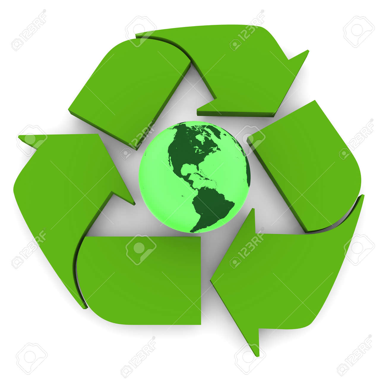 Glowing green planet earth inside recycling symbol concept of glowing green planet earth inside recycling symbol concept of conservation isolated on white background biocorpaavc Gallery
