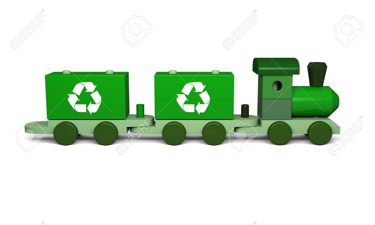 Green toy train with recycling symbols concept of enviromental green toy train with recycling symbols concept of enviromental protection as part of early children biocorpaavc Gallery