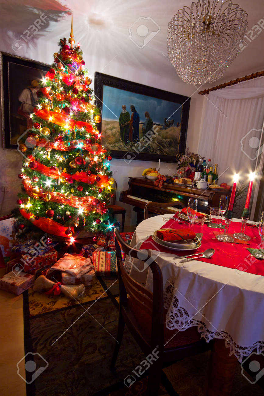 Cozy Room With Presents Under Decorated Christmas Tree Old Piano