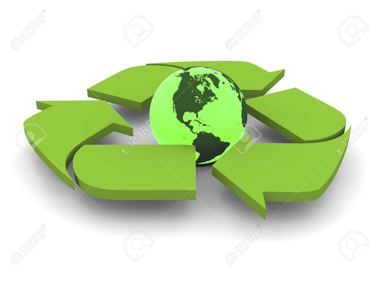 Glowing Green Planet Earth Inside Recycling Symbol Concept Of Diagram Conservation Isolated On White Background