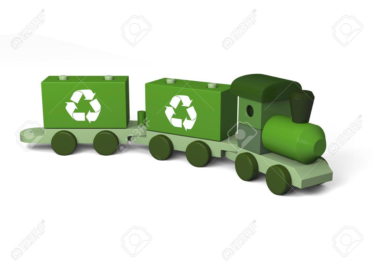 Green toy train with recycling symbols concept of environmental green toy train with recycling symbols concept of environmental protection as part of early children biocorpaavc Gallery
