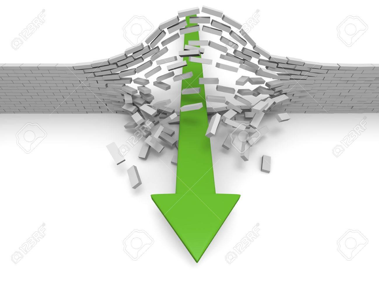 Illustration of green arrow breaking through brick wall, concept of success, breakthrough, achievement Stock Illustration - 15307480