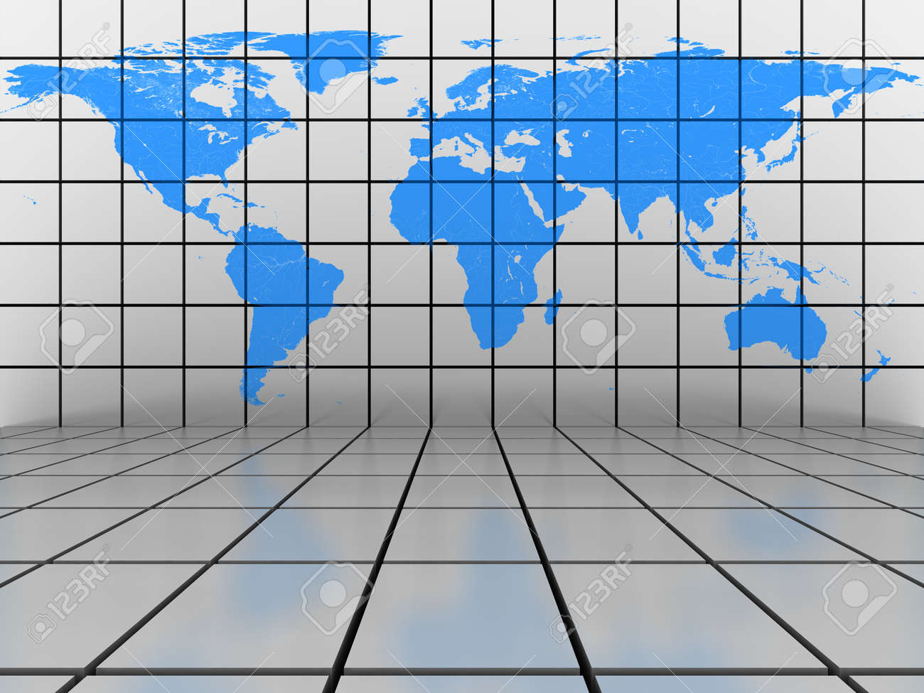 Tiled background scene with blue world map on the vertical wall tiled background scene with blue world map on the vertical wall foto de archivo gumiabroncs Images