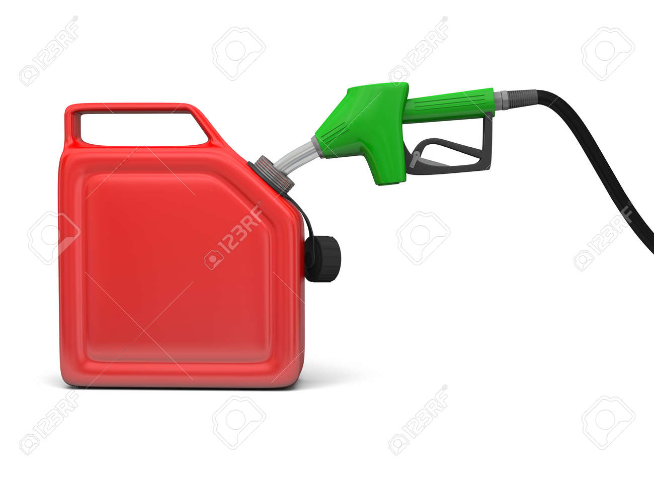 Illustration of green fuel pump nozzle and red jerry can isolated on white background Stock Photo - 15757933