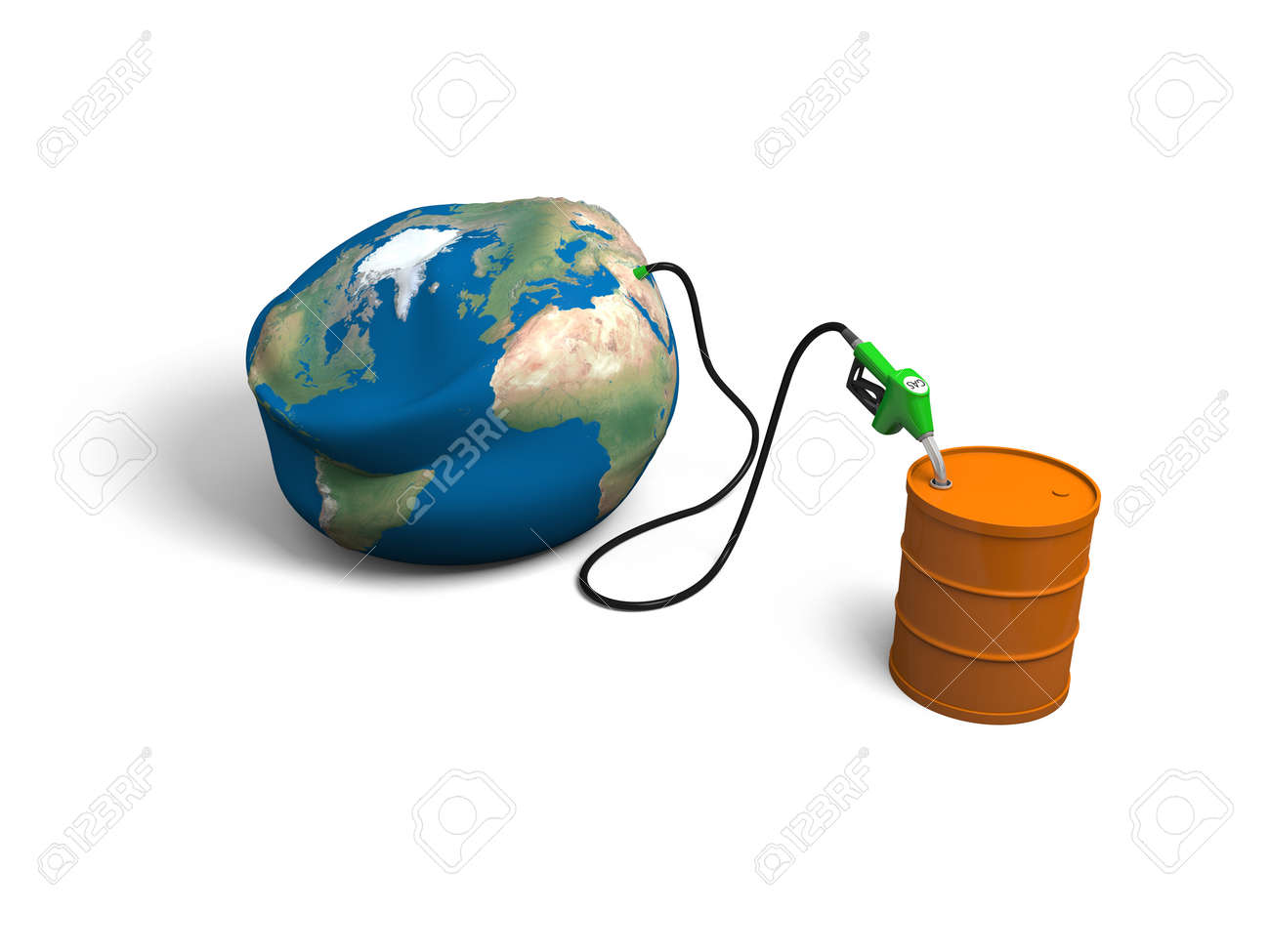 Concept of oil depletion with illustration of oil pump, pumping out oil from deflated Earth into petrol barrel, isolated on white background. Elements of this image furnished by NASA Stock Illustration - 17179663