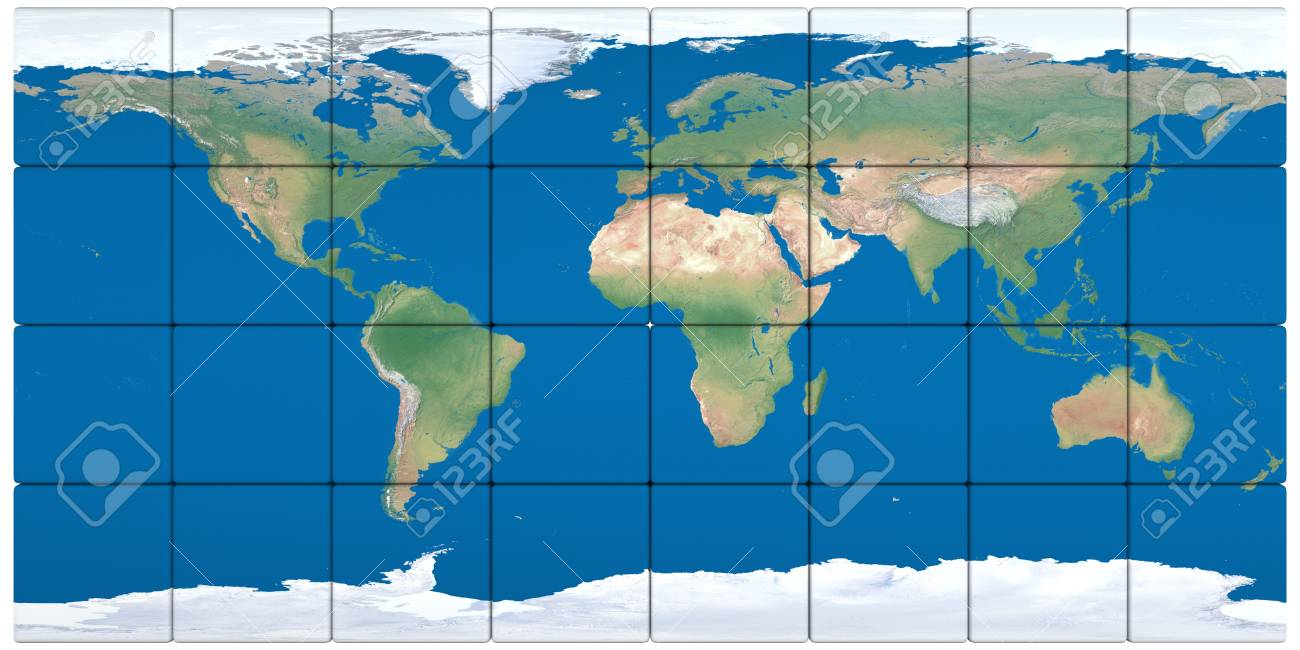 World map made of cubes isolated on white background Stock Photo - 19296191